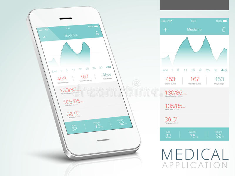 Medical Application User Interface with Smartphone. Creative Medical Application User Interface layout with Smartphone presentation stock illustration