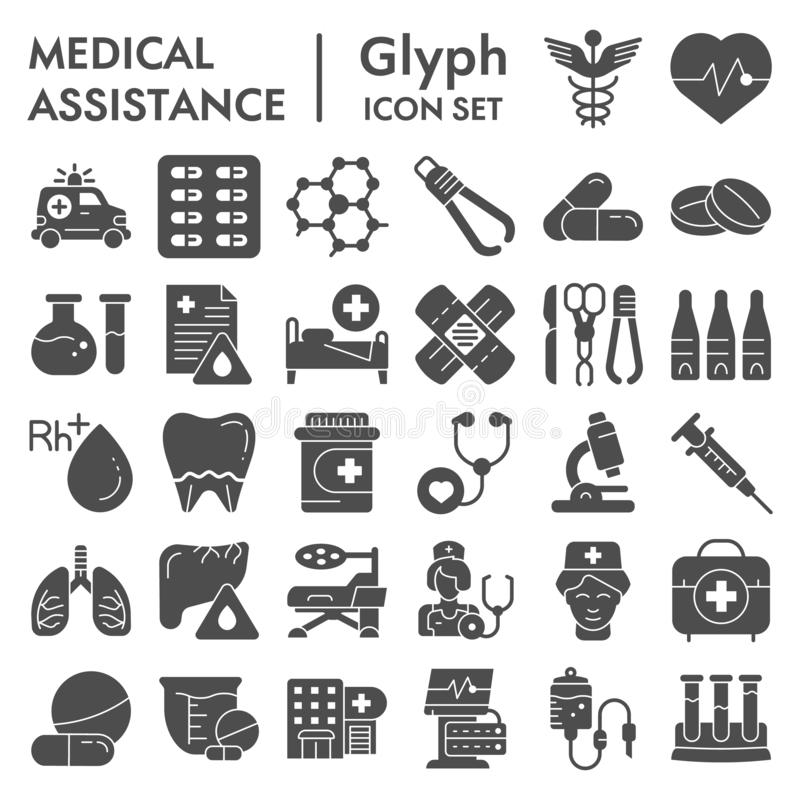 Medical assistance glyph icon set, healthcare symbols collection, vector sketches, logo illustrations, medicine. Equipment signs solid pictograms package royalty free illustration