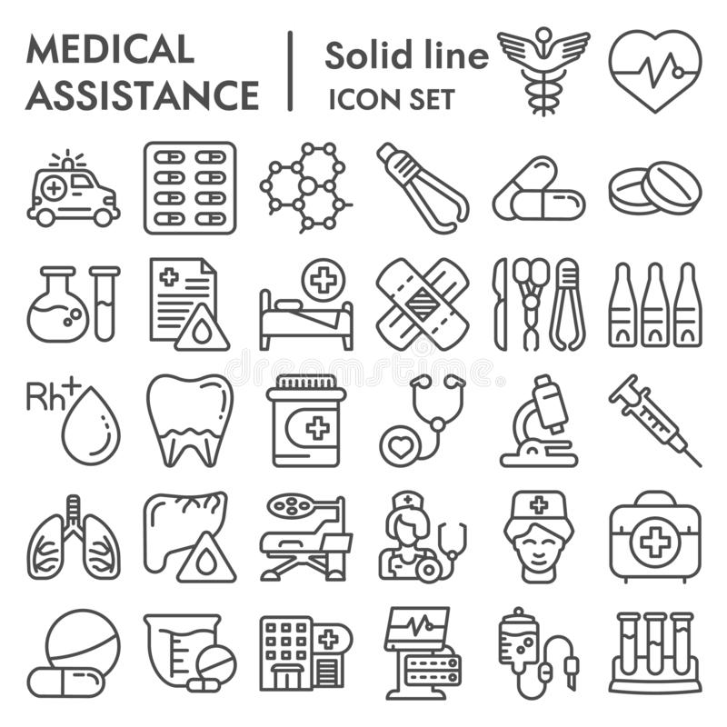 Medical assistance line icon set, healthcare symbols collection, vector sketches, logo illustrations, medicine equipment. Signs linear pictograms package vector illustration