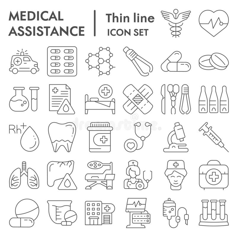 Medical assistance thin line icon set, healthcare symbols collection, vector sketches, logo illustrations, medicine. Equipment signs linear pictograms package royalty free illustration