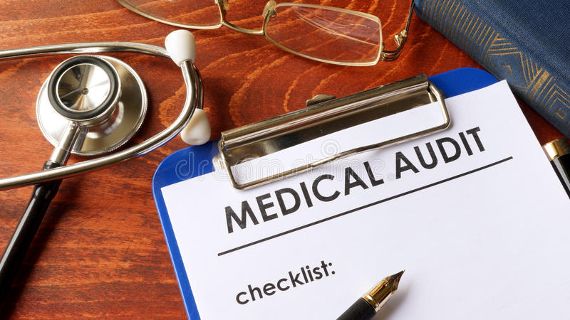 Medical audit form with checklist. stock images