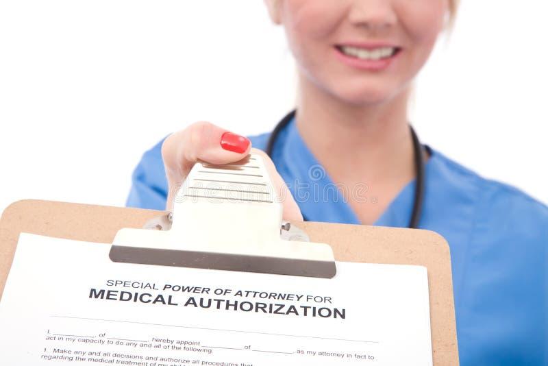 Medical authorization form stock photo