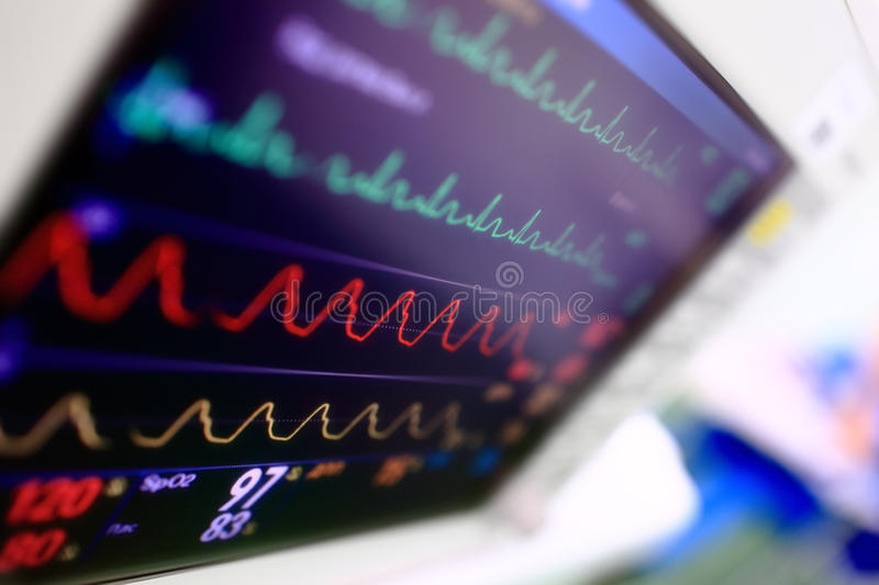 Medical background. Heart monitor from unusual angle royalty free stock photo