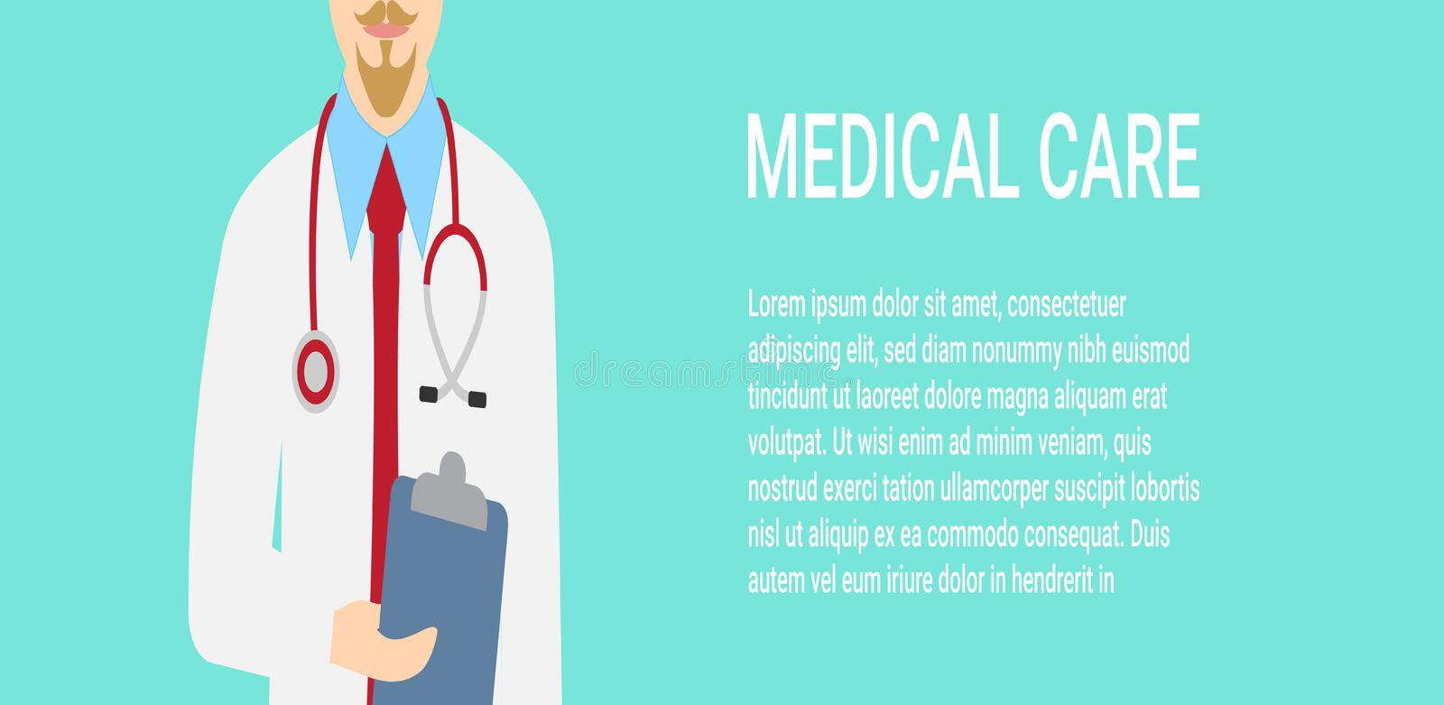 Medical background with close up of doctor with stethoscope. Vector illustration stock illustration
