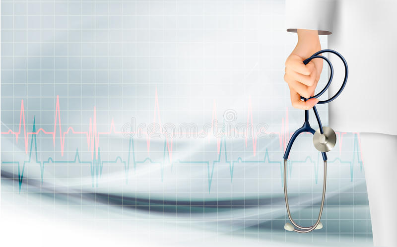 Medical background with hand holding a stethoscope stock illustration