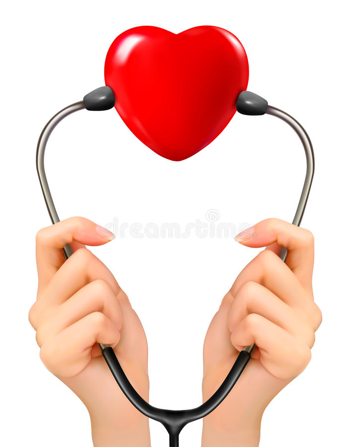 Medical background with hands holding a stethoscope. With red heart. Vector royalty free illustration