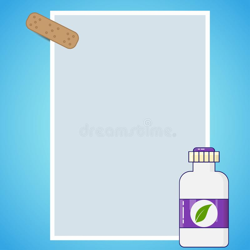 Medical background, a sheet of paper attached with a plaster, a bottle of medicine isolated on a blue background royalty free illustration