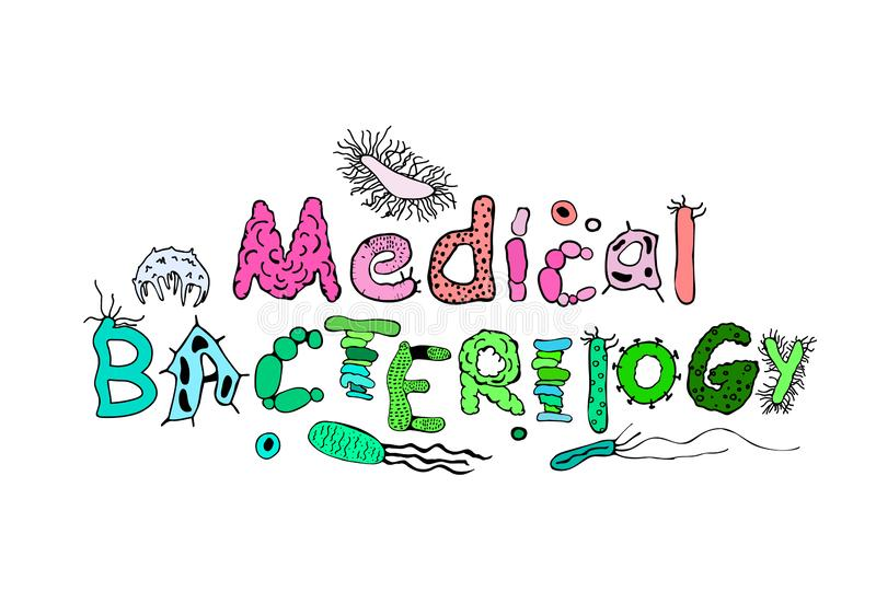 Medical Bacteriology Poster. Creative heading in luminescent colors. Microbiological hand drawn lettering. Editable vector illustration on white background royalty free illustration