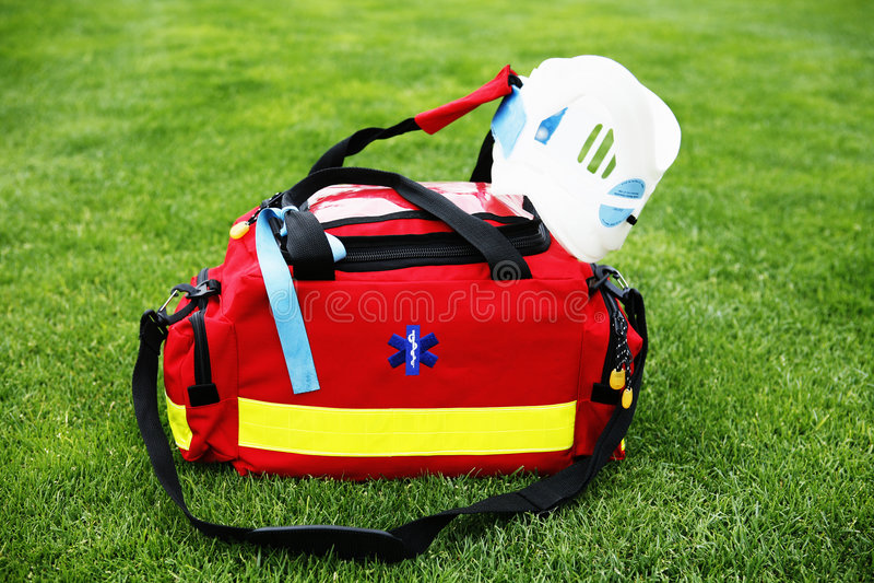 Medical bag - Paramedic. EMT - Medical bag with surgical collar royalty free stock images