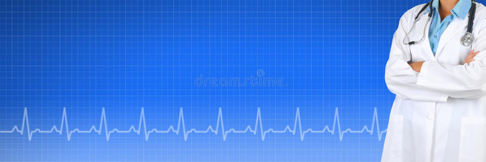 Medical Banner. Female Doctor over a Health Care background with EKG graph. Suitable for medical web sites with room for your copy stock photography