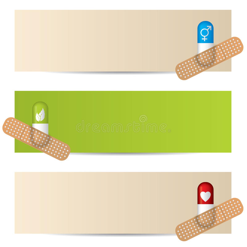 Medical banner set with plastered capsules