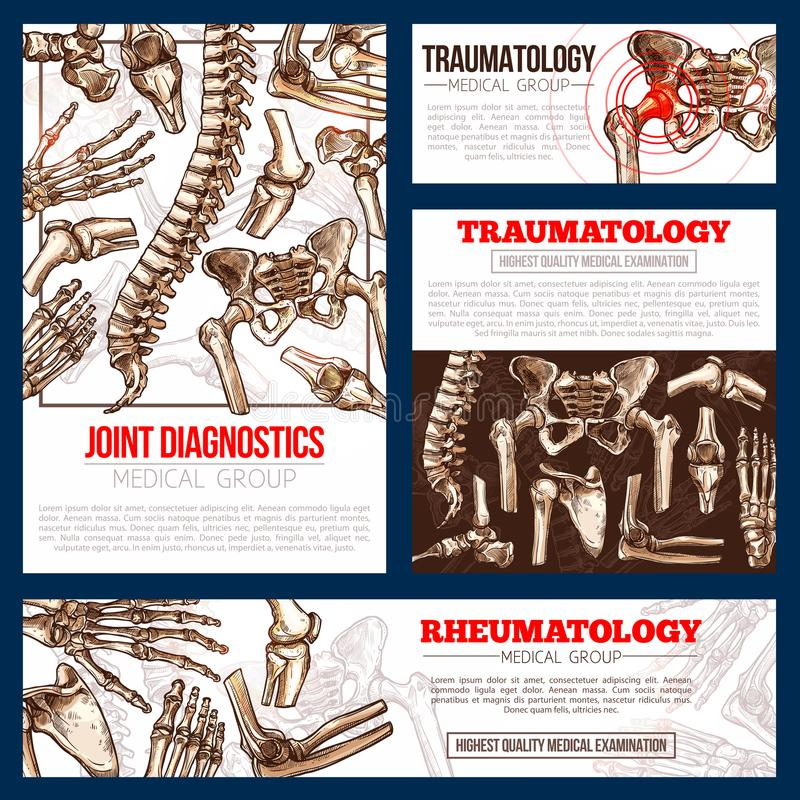 Medical banner template set of bone, joint x-ray stock illustration