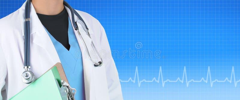 Medical Banner witha female doctor against a blue EKG stock images
