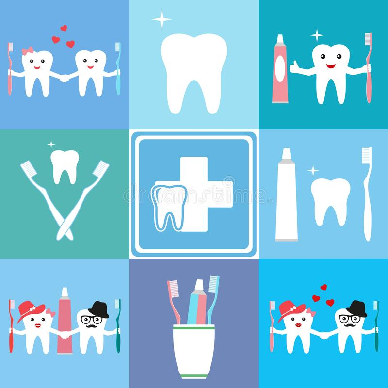 Medical banners design with dental equipment icons and cartoon teeth with a toothbrush and toothpaste stock illustration