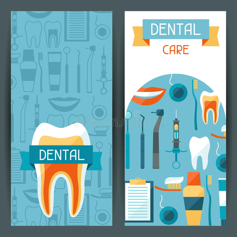 Medical banners design with dental icons stock illustration