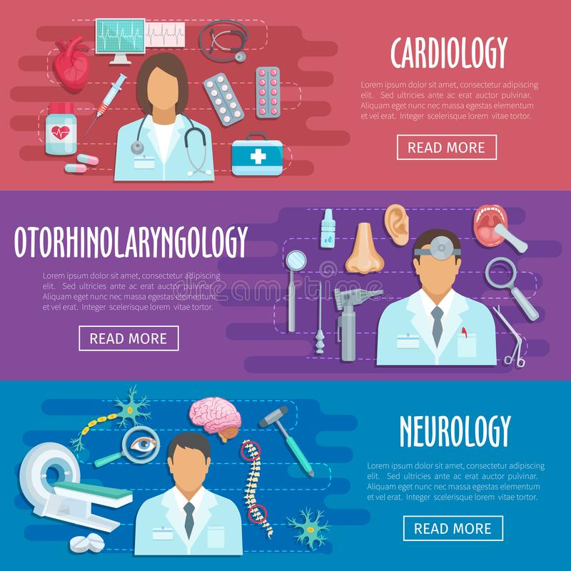 Neurology cardiology doctor vector medical banners royalty free illustration