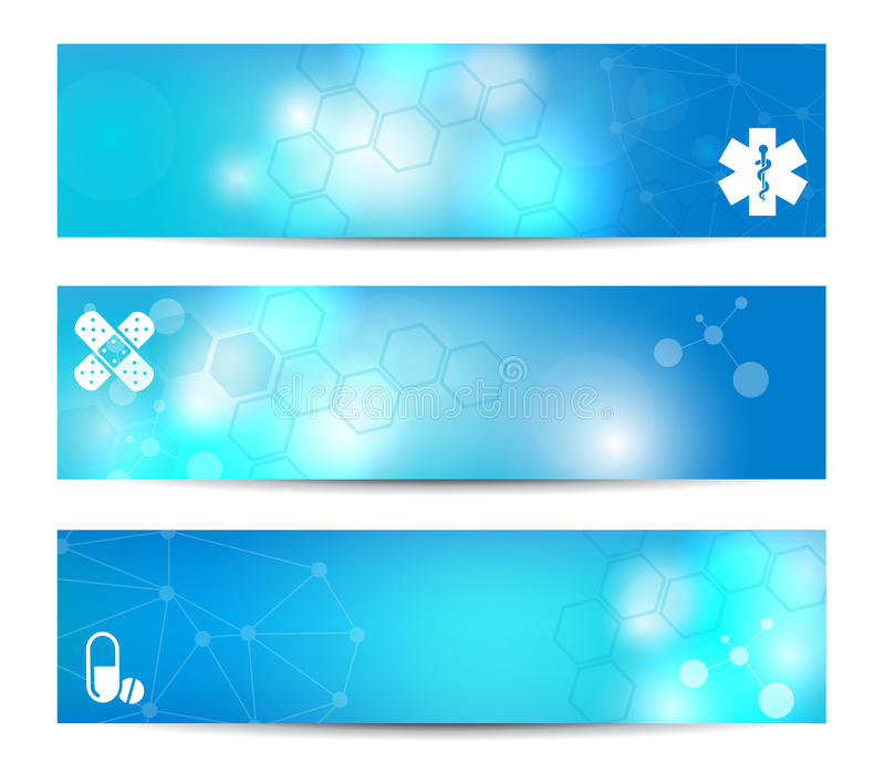 Medical Banners. Three banners suitable for medical topics royalty free illustration