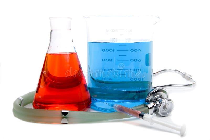 Medical Beakers Syringe and Stethoscope stock image