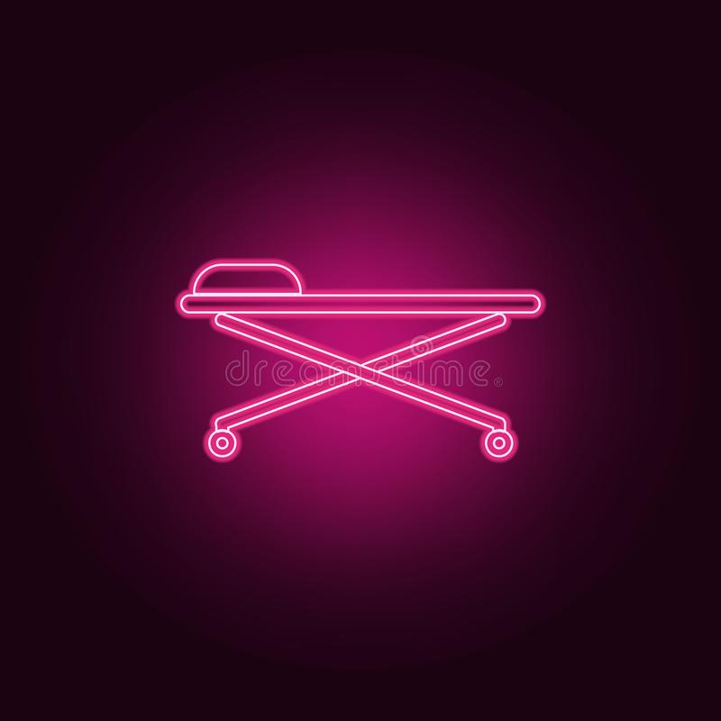medical bed icon. Elements of Medicine in neon style icons. Simple icon for websites, web design, mobile app, info graphics royalty free illustration