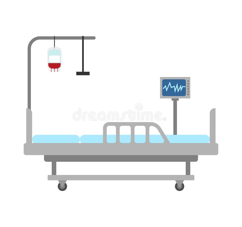 Medical bed isolated. hospital bed clinic. patient bedstead.  royalty free illustration