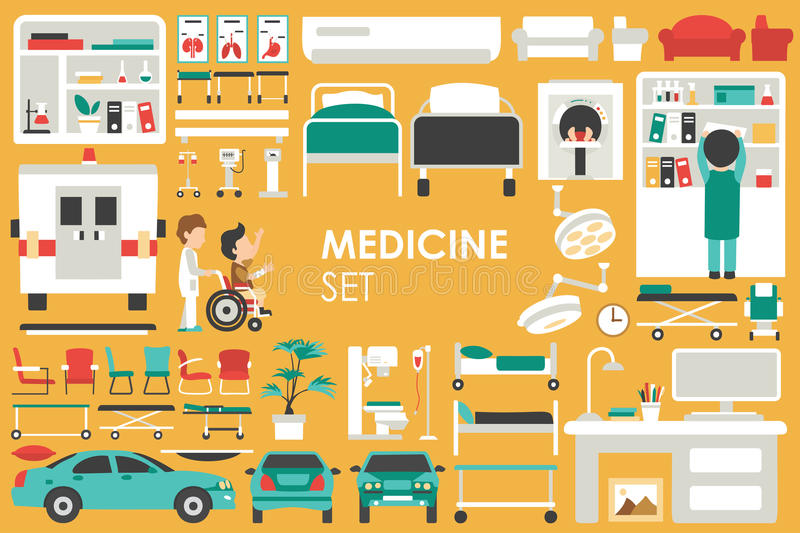 Medical Big Collection in flat design background concept. Infographic elements set with hospital staff doctor and nurse vector illustration