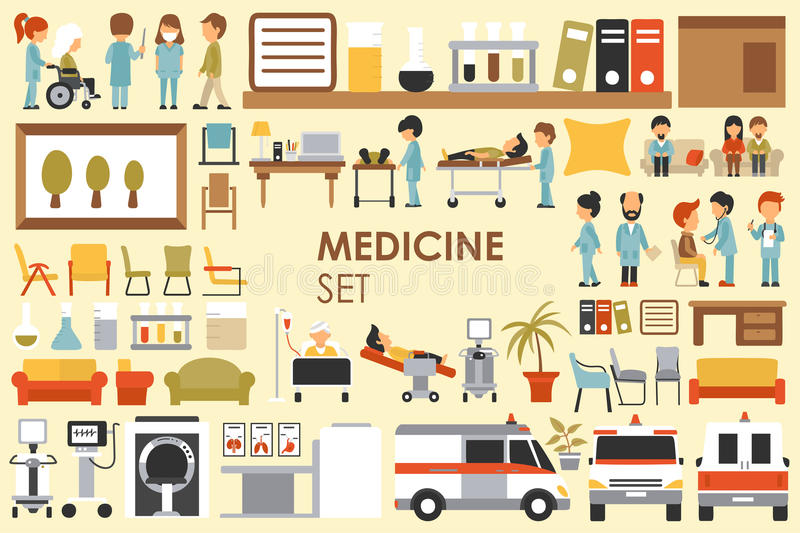 Medical Big Collection in flat design background concept. Infographic elements set with hospital staff doctor and nurse stock illustration
