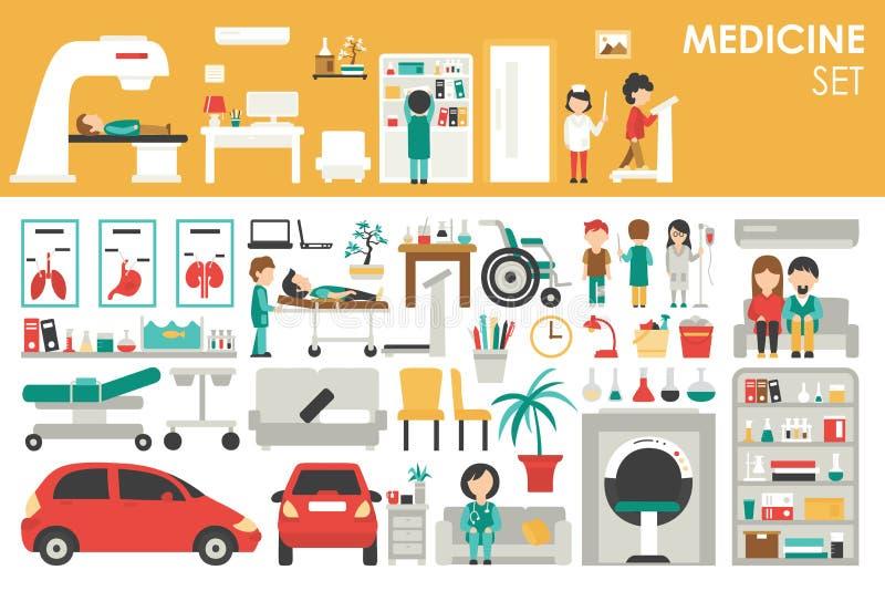 Medical Big Collection in flat design background concept. vector illustration