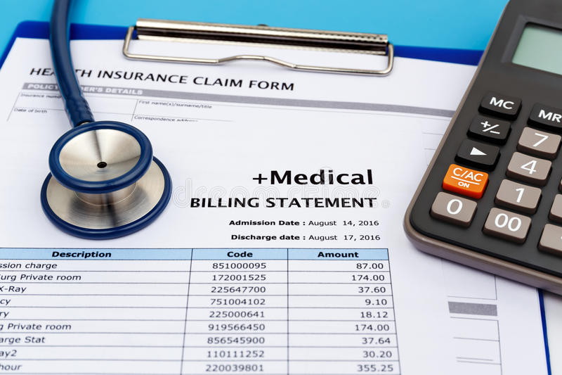 Medical bill with calculator royalty free stock images