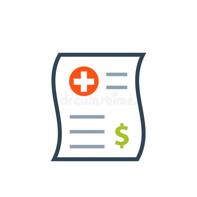 Medical bill color icon royalty free illustration