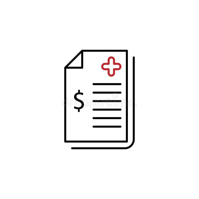 Medical bill 2 colored line icon. Simple colored element illustration. Medical bill icon design from medicine set stock illustration