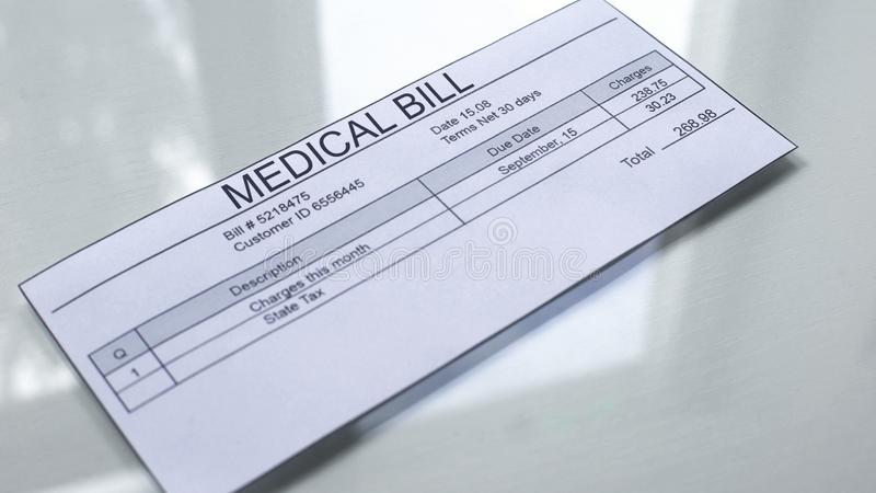 Medical bill lying on table, services payments, insurance document, healthcare vector illustration