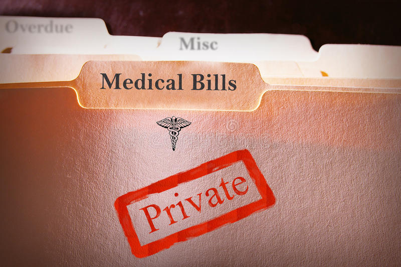 Medical Bills folder. Tabbed folders with Medical Bills text and Private stamp stock images
