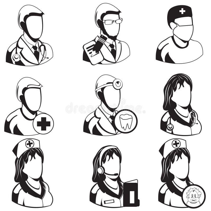 Medical black icons - professions royalty free illustration