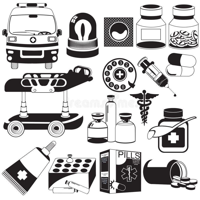 Medical black icons royalty free illustration