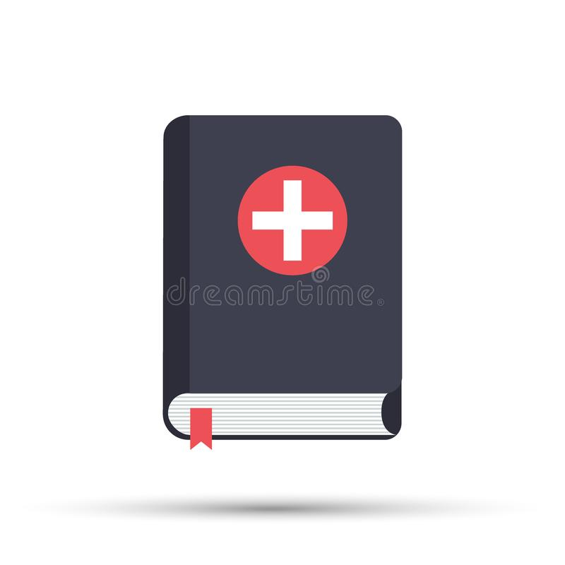 Medical book. Vector illustration, icon flat style design with long shadow. Medical reference books. Vector illustration. vector illustration