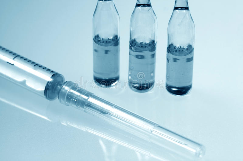 Medical bottle for injection stock photography