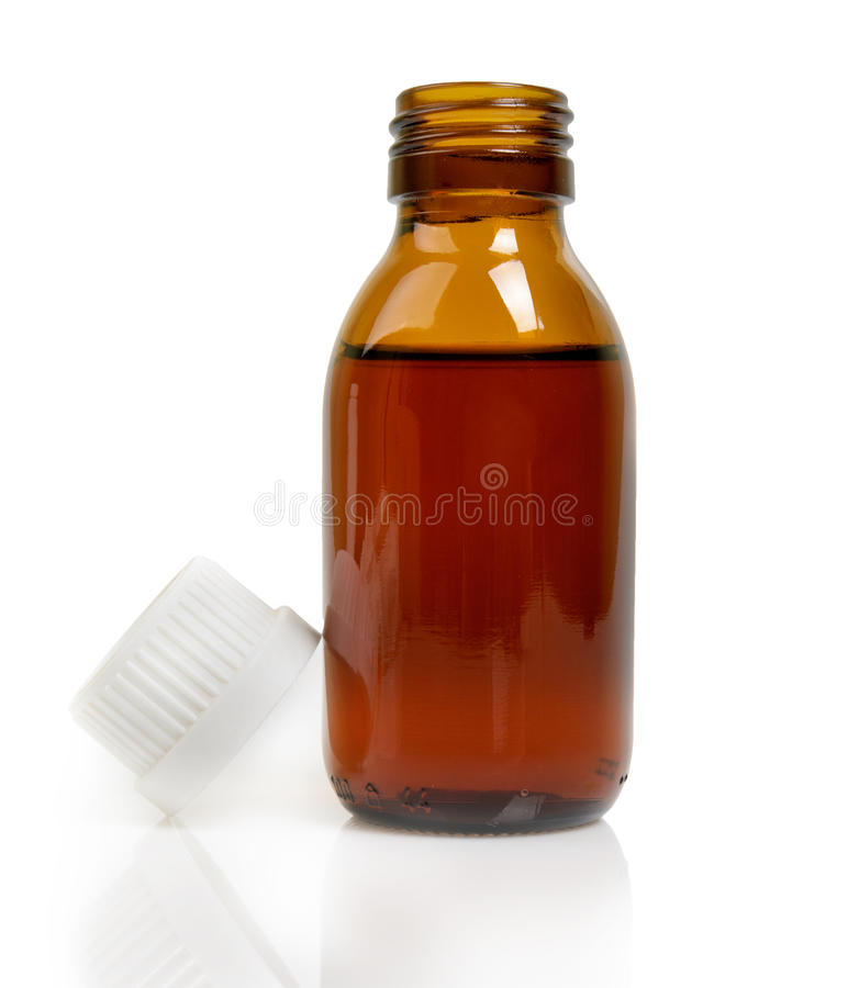 Free Medical Bottle Of Brown Glass With Liquid Isolated On White Background Royalty Free Stock Photo - 43668195