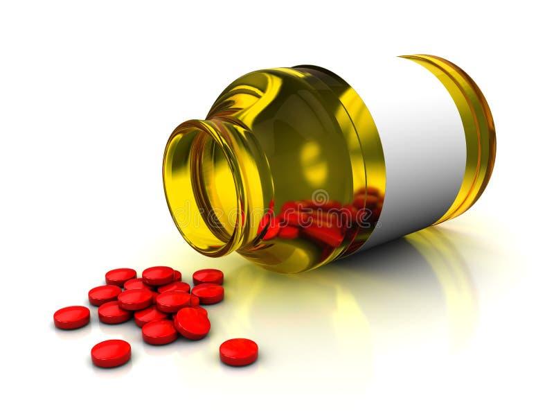 Medical bottle and tablets vector illustration