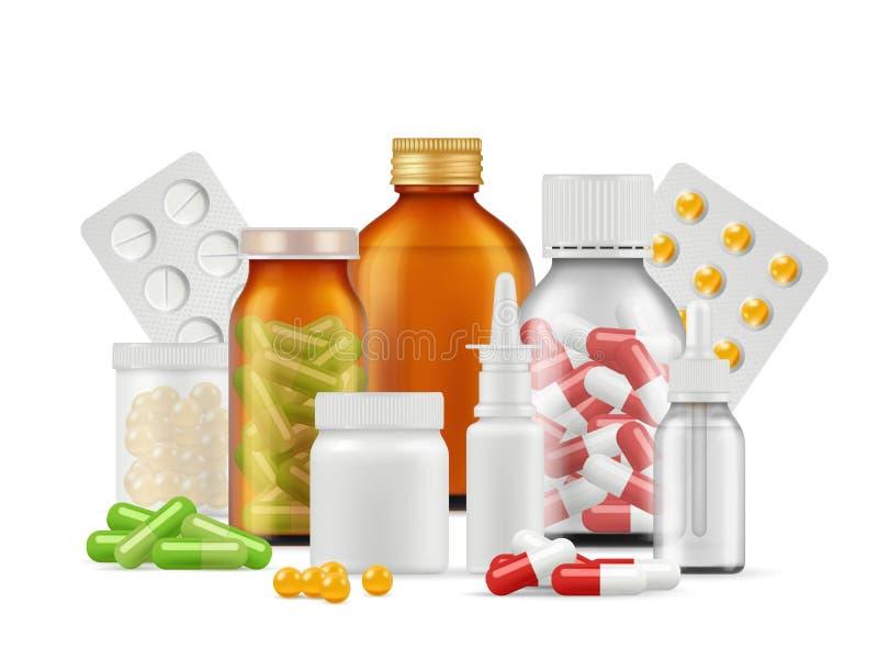Medical bottles and pills. Medications aspirin antibiotic drugs tablets vector realistic health care concept vector illustration