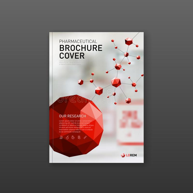 Medical brochure cover template with red molecules royalty free illustration