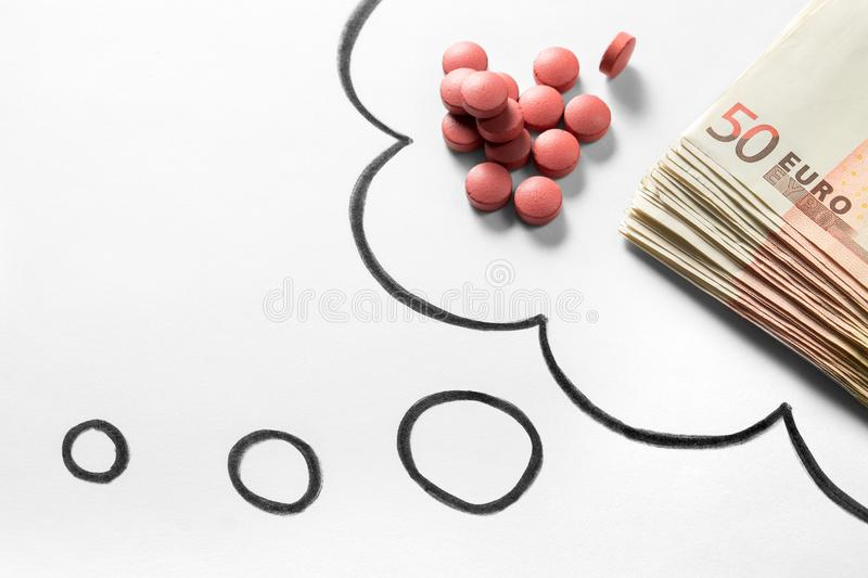Medical business or prices concept. Thinking about money. royalty free stock photo