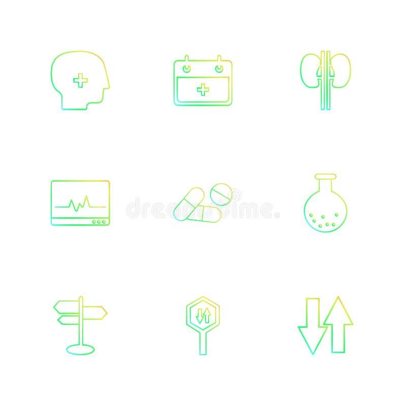 Medical , calender , kidneys , ecg , medicine , beaker ,directions , board , up down , eps icons set vector. Medical , calender , kidneys , ecg , medicine stock illustration