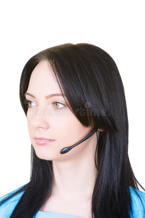 Medical call center concept - girl with headphone royalty free stock image