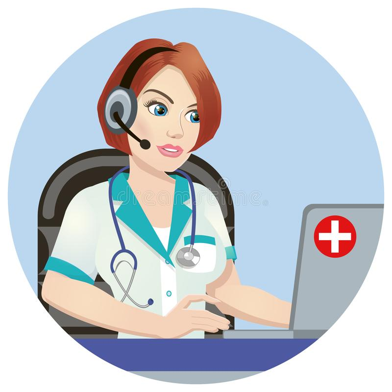 Medical call center operator at work. isolated on white background. Emergency concept with medical helpline operator. Wearing headset sitting at table and royalty free illustration