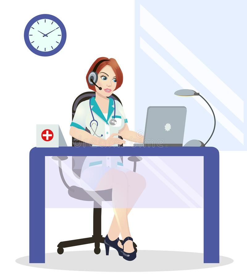 Medical call center operator at work. on white background. Emergency concept with medical helpline operator. Medical cute call center operator at work. on white royalty free illustration