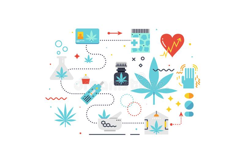 Medical cannabis concept illustration. With icons for web banner, flyer, landing page, presentation, book cover, article, etc stock illustration