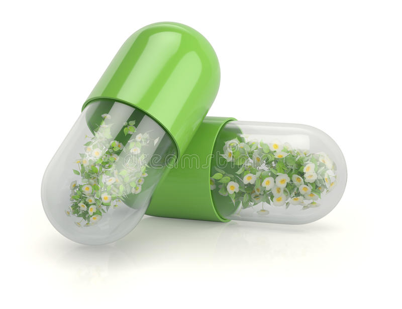Medical capsules with herbal plants royalty free illustration
