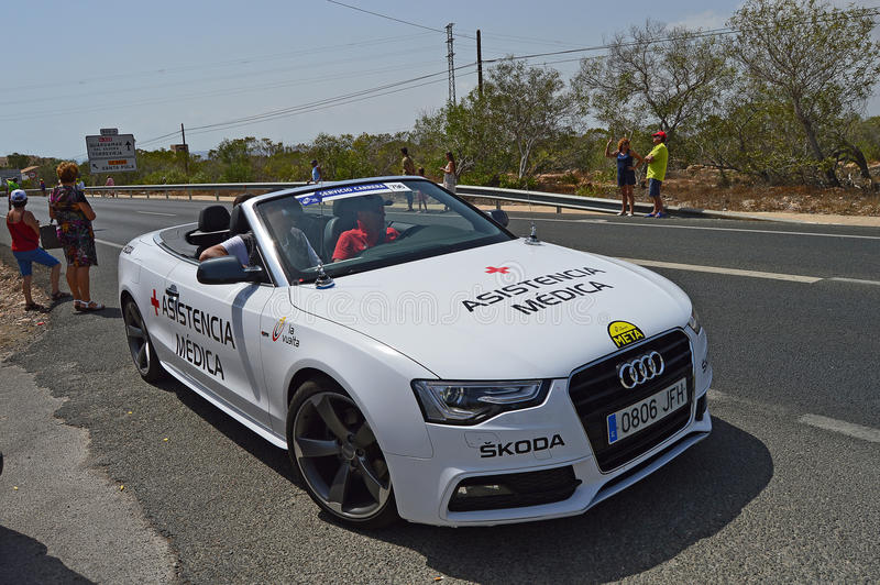 The Medical Car In la Vuelta España Bike Race. The doctors car waiting for any incidents during stage 9 of La Vuelta España cycle race royalty free stock images