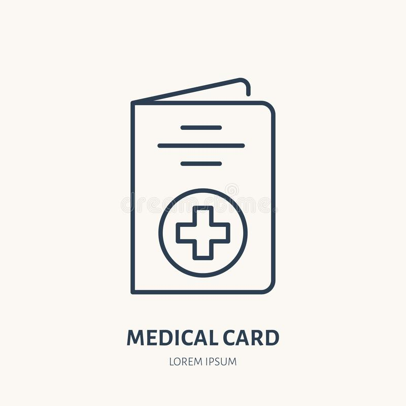 Medical card vector flat line icon. Insurance brochure sign royalty free illustration