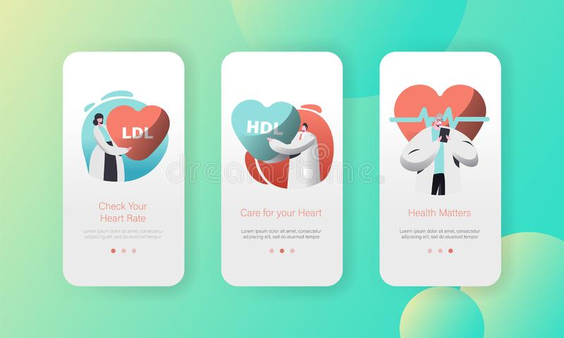 Medical Cardiology Health Care Worker Mobile App Page Onboard Screen Set. Professional Treatment. Check Heart Rate. Or Healthcare Concept for Website. Flat vector illustration
